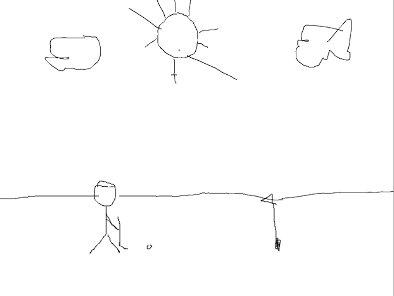Drawn depiction of what Tuesday's golf match, resulting in a currently unknown score, most likely looked like. (Jacob Tatham/Lariat)