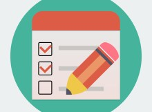Flat checklist with pen icon , vector eps 10