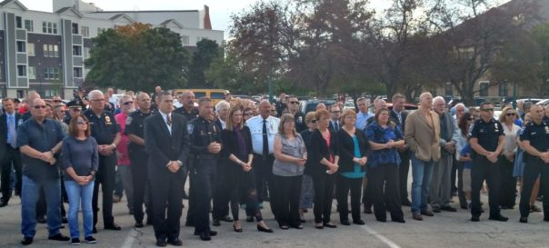 Just part of the large crowd on hand in front of the Fishers Police Headquarters