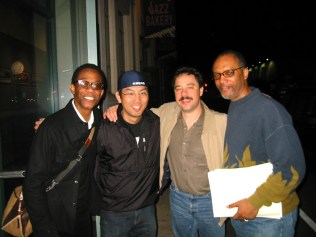 photo of Brian Blade, Yasu (sound engineer at Jazz Bakery), Larry Koonse, and Billy Childs
