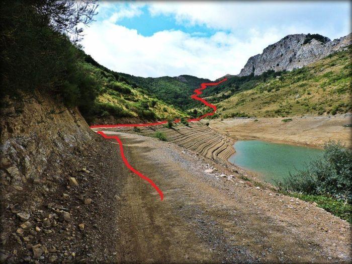 Desde la pista que sale a la izquierda del viaducto se accede a los pastos del Gilbo a través del hayedo