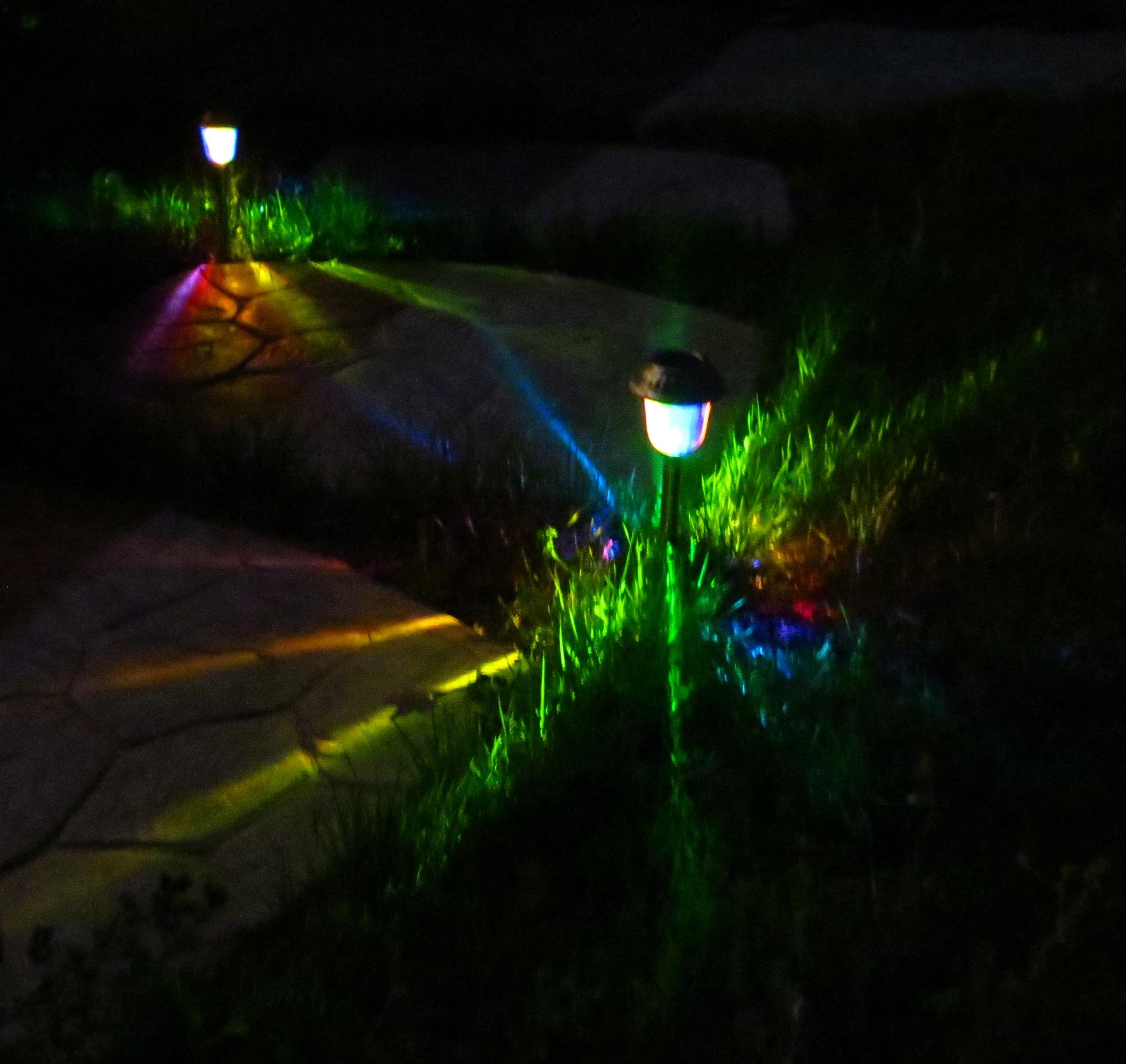 Dark Imagine Rainbow Colored Lights Marking Your Path Solar Rainbow Path Lights Solar Path Lights Solar Path Lights Rechargeable Batteries houzz 01 Solar Path Lights