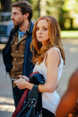 Blake Curtis (Jayma Mays) leaving the Green family lake house in LAST WEEKEND.