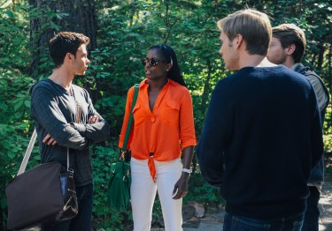 Luke Caswell (Devon Graye), Nora Finley-Perkins (Rutina Wesley), Sean Oakes (Fran Kranz), and Theo Green (Zachary Booth) arrive at the family lake house in LAST WEEKEND.