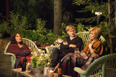 Theo Green (Zachary Booth) with Celia's friends, Vivian (Sheila Kelley) and Jeannie (Mary Kay Place) in LAST WEEKEND.