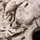 "Detail of a new fisher piece in progress (11"" x 14"") - sepia underpainting. ©Rebecca Latham"