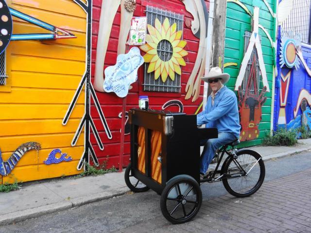 Gary Skaggs and his piano bike