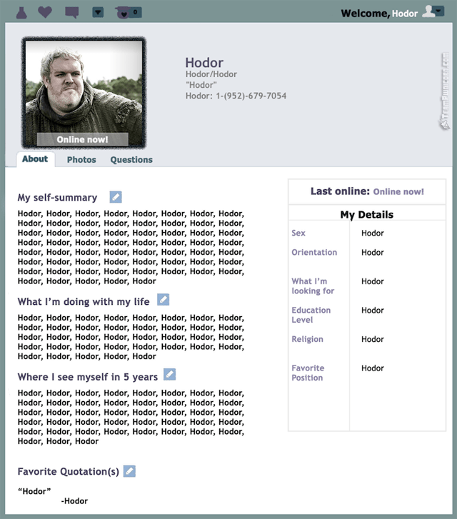 Game of Thrones Dating Profiles – Hodor