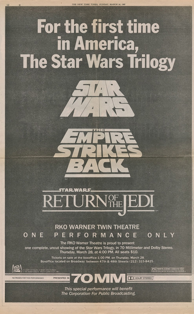 Star Wars Dan Perri Trilogy NYT 1985