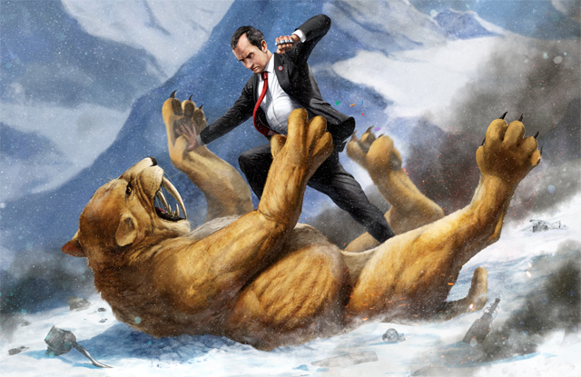 Richard Nixon Battling a Giant Saber-Toothed Tiger