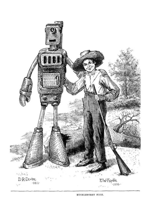 Robot Jim and Huck illustration by Denise Devine and E. W. Kemble