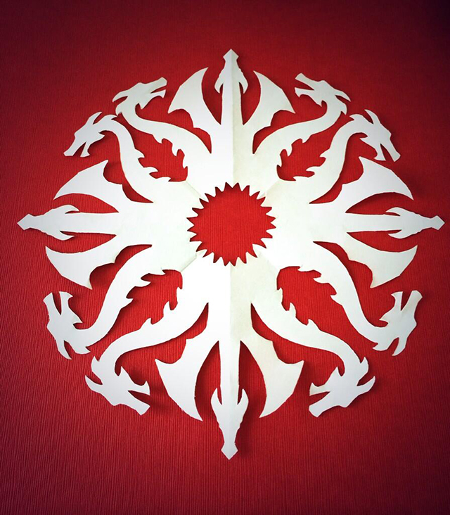 DIY Paper 'Game of Thrones' House Sigil Snowflakes