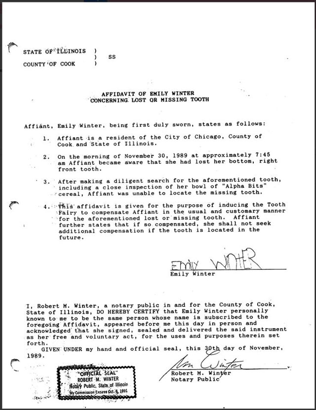 Tooth Fairy Affidavit