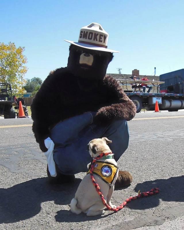 Xander with Smoky the Bear