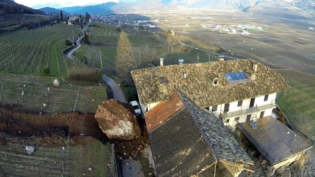Boulder Destroys Family Farm in Northern Italy