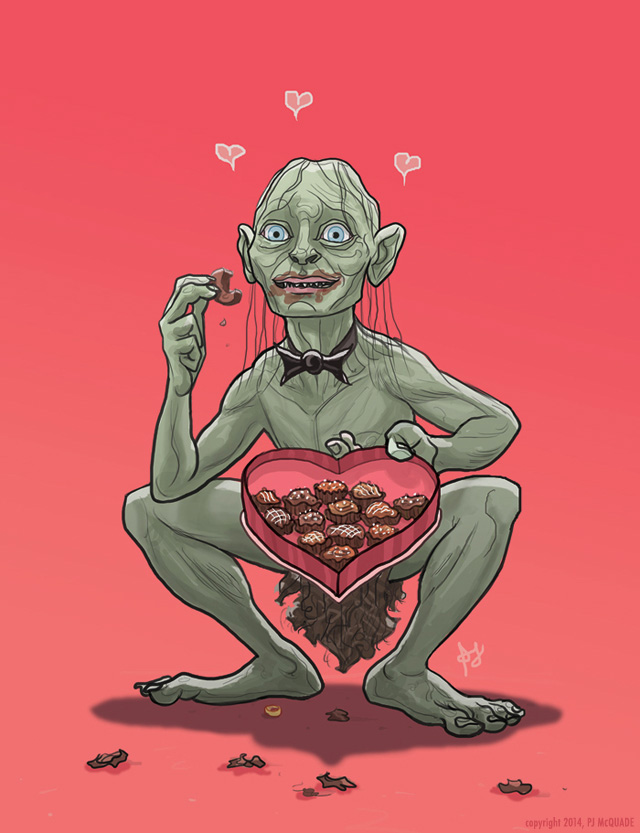 Gollum Lord of the Rings Valentines Day Card