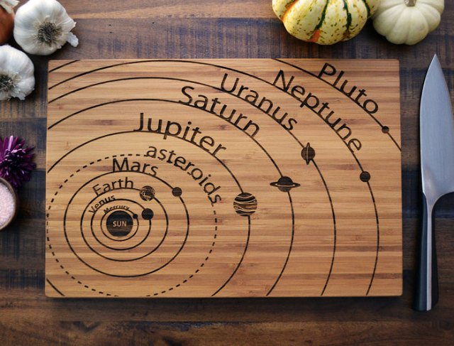 Custom Cutting Board Solar System