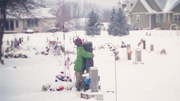 Myles Hugging Father's Headstone