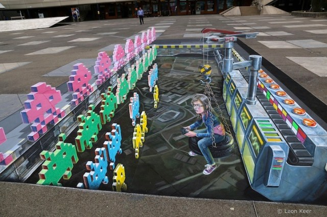 Space Invaders Anamorphic Painting