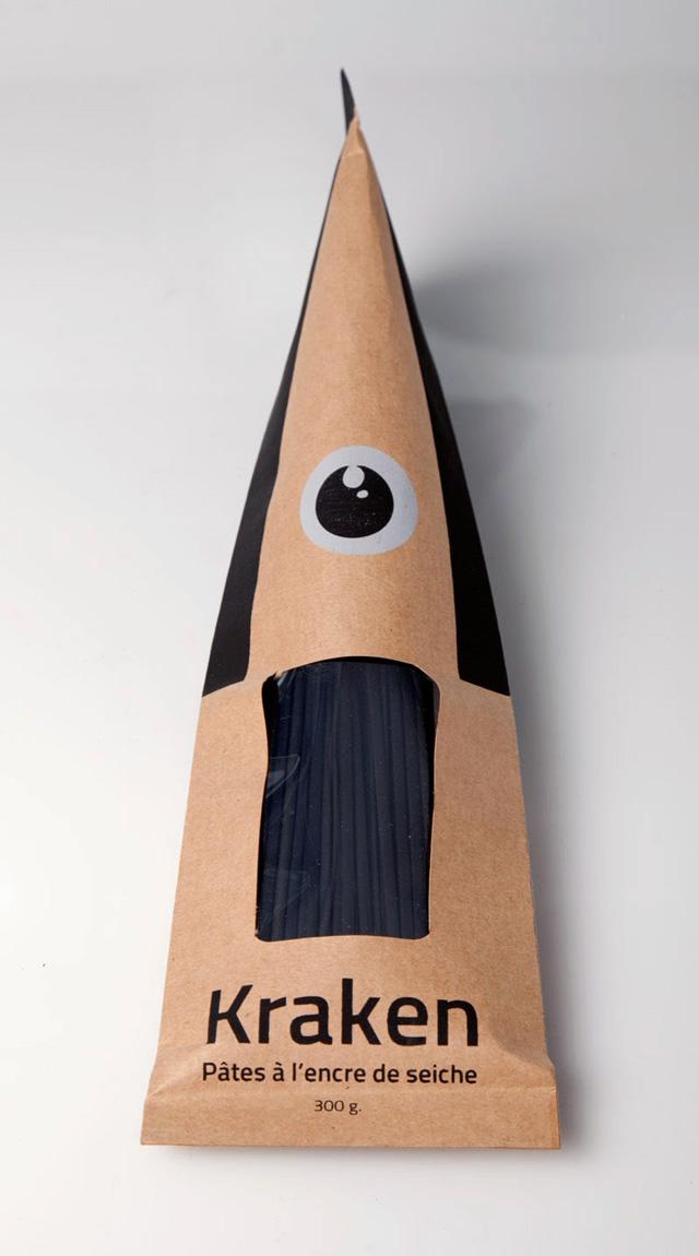 Kraken Squid Ink Pasta Packaging Concept