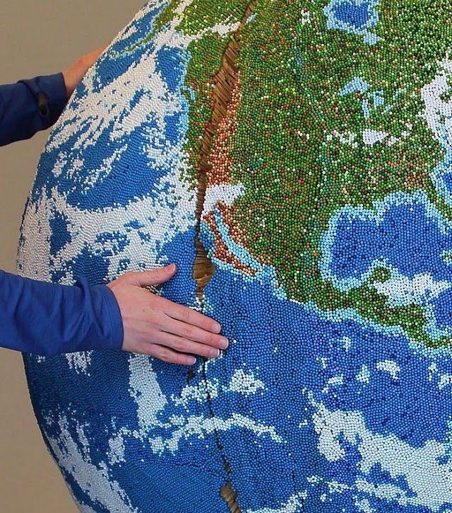 Giant Globe Made of Painted Matchsticks