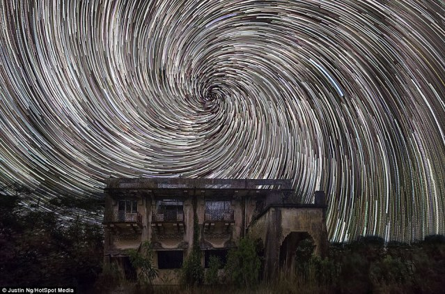 Stunning Digitally Composited Star Trail Photos of the Night Sky over Singapore