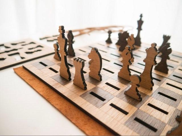 Laser Cut Wooden Chess Set Flattens When Not in Use
