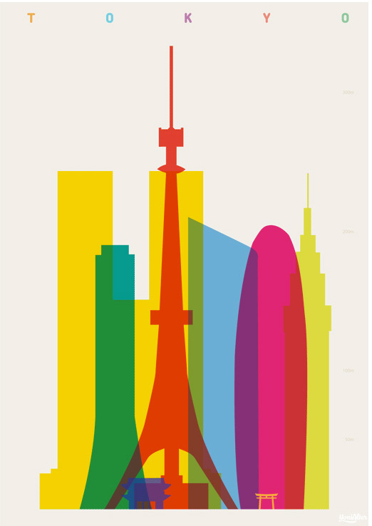 Colorful City Landmark Silhouette Illustrations by Yoni Alter