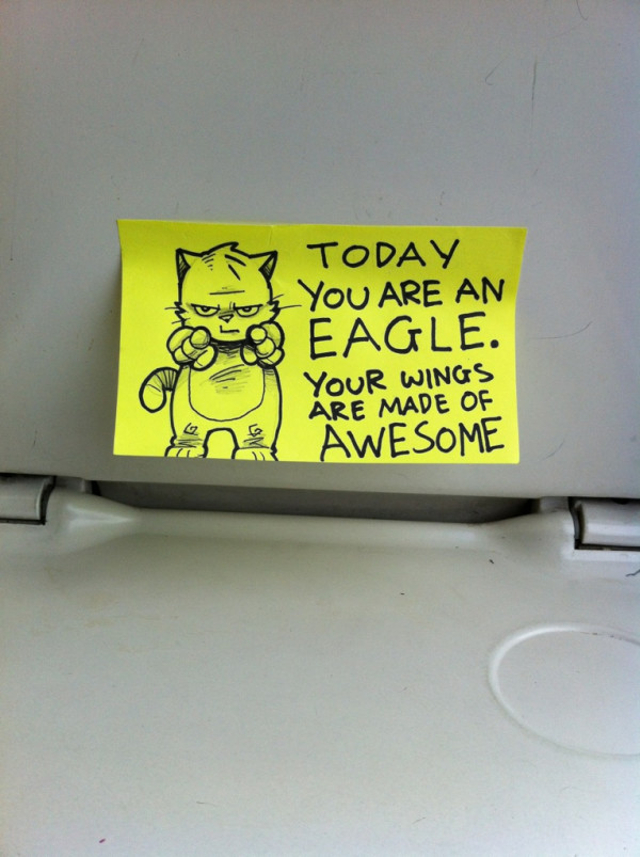 Motivational Post-It Cartoons For Commuters