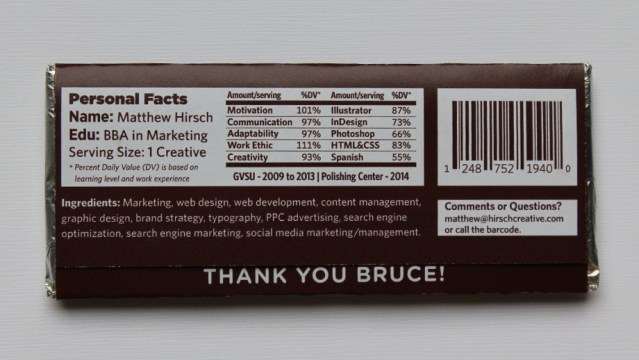 Chocolate Bar Resume