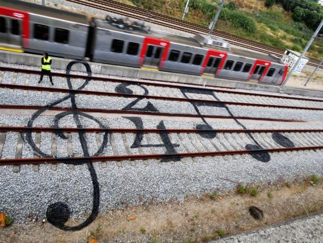 Clever Street Art on Railroad Tracks by Bordalo II