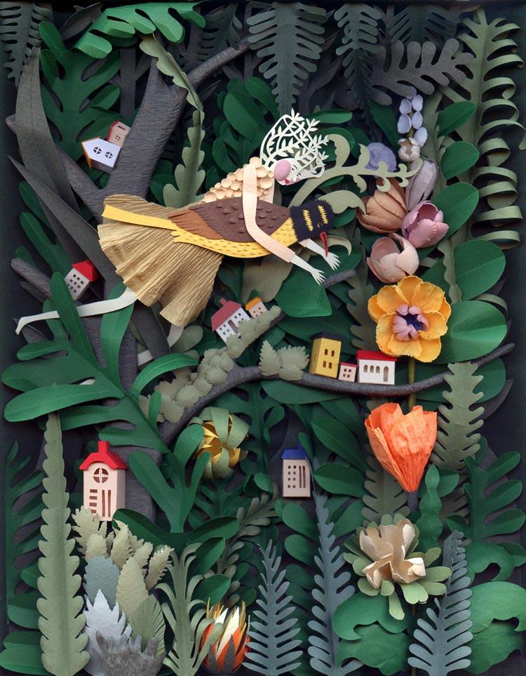 Beautiful Sculptural Cut Paper Art by Elsa Mora