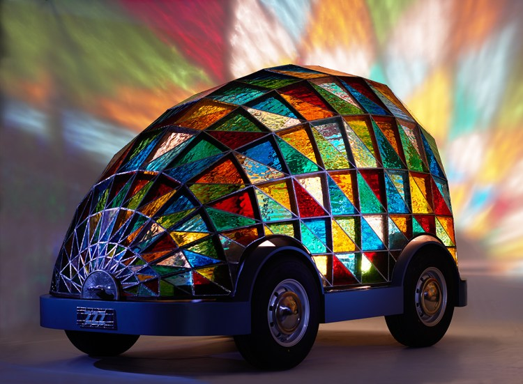 The Stained Glass Driverless Sleeper Car of the Future by Dominic Wilcox