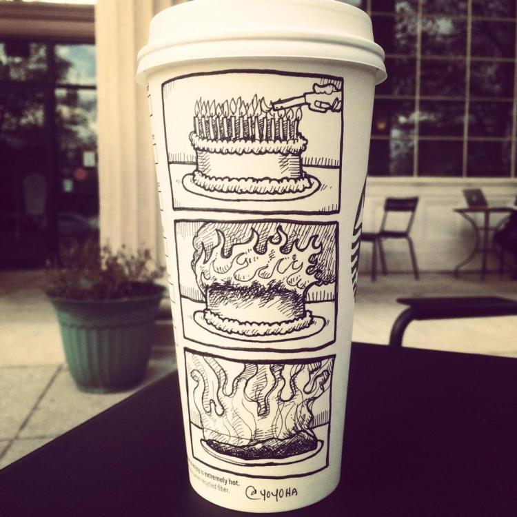 Twisted Coffee Cup Cartoons by Josh Hara