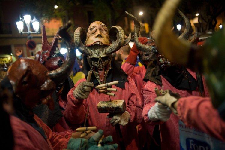 The Sant Antoni De La Pobla Bonfire Festival in Barcelona