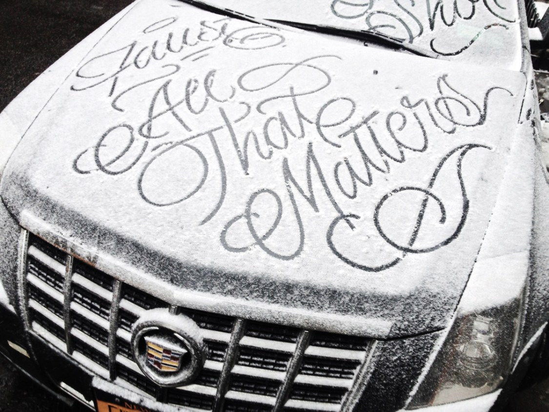 New York City Graffiti Artist Faust Writes Messages in Beautiful Script on Snow-Covered Cars