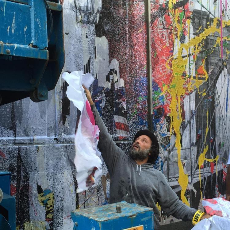 Street artist mr brainwash creates a 9 11 memorial mural for Mural by mr brainwash
