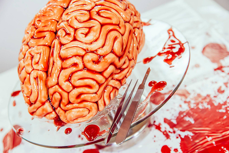 Deep Red Velvet Brain Cake