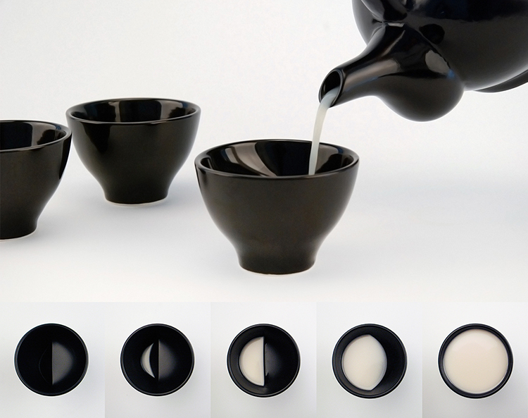 Moon Glass, A Ceramic Liquor Cup That Displays Different Phases of the Moon the More You Drink From It