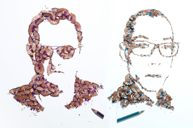 Pencil shaving portraits by Kyle Bean