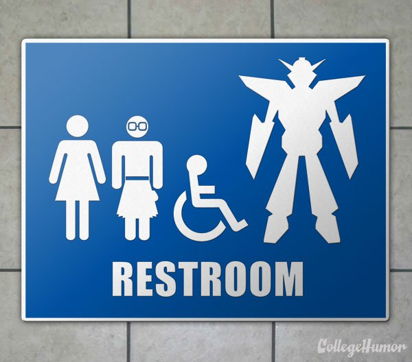 Mech Bathroom Warning Sign