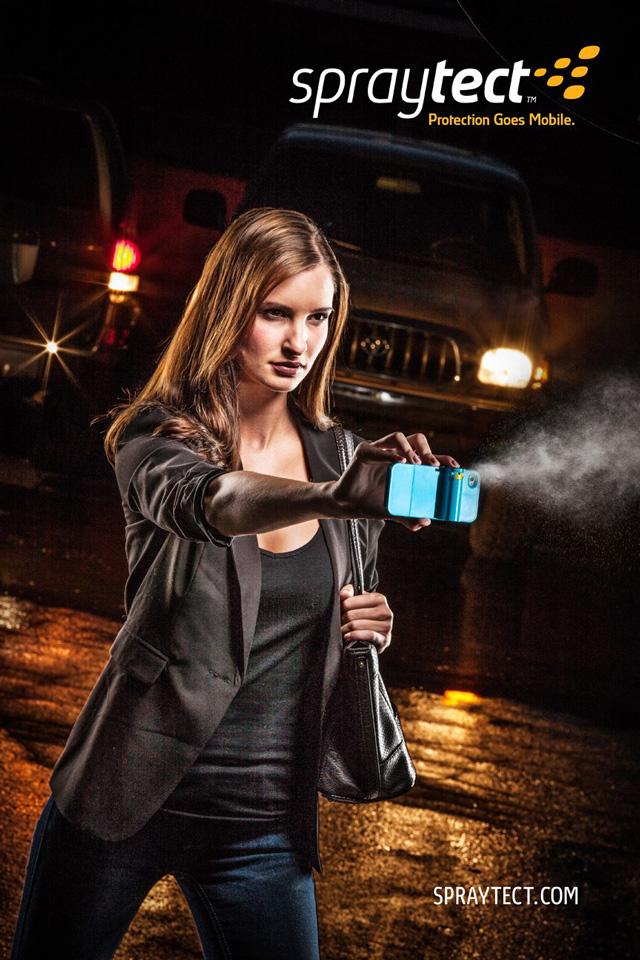 Woman spraying