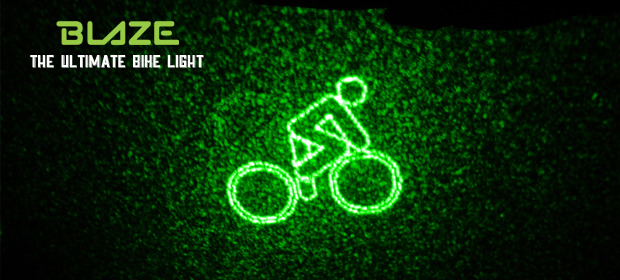 Blaze bike light projects warning symbol