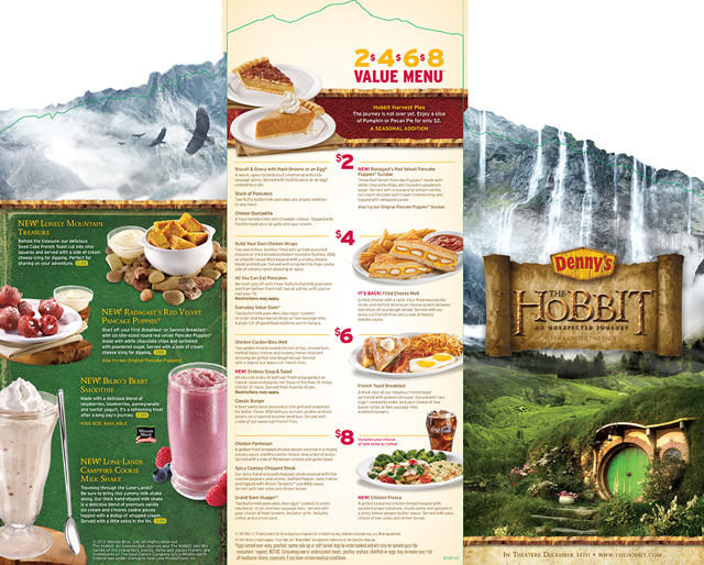 Denny's' Menu Inspired by The Hobbit