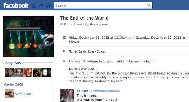 The End of the World, on Facebook