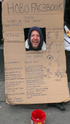 Hobo Facebook, A Homeless Man Makes a Profile in Cardboard