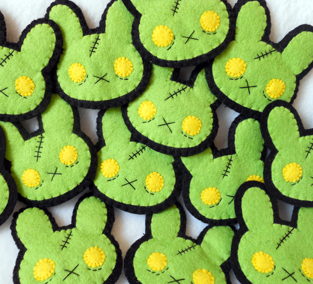 Zombunny Brooches by Michelle Coffee