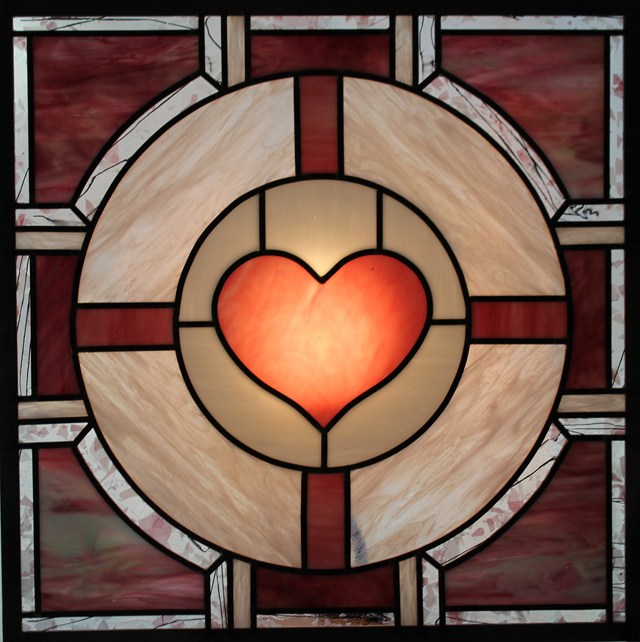 Portal Pink Companion Cube X Stained Glass Panel by Martian Glass Works