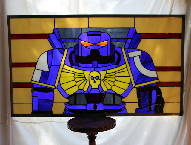 Warhammer 40k Space Marine X Stained Glass Panel by Martian Glass Works