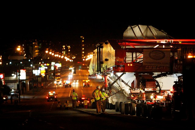 340 ton boulder enroute to LACMA for Levitated Mass by Michael Heizer